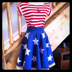 Vintage Homemade Patriotic Stars Circle Skirt